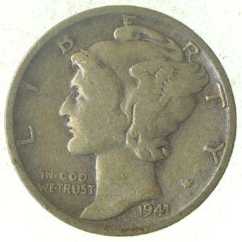 World War 2 WWII Era Mercury 90% Silver Dime - Neat! - 1941-S