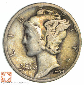 World War 2 WWII Era Mercury 90% Silver Dime - Neat! - 1944-D