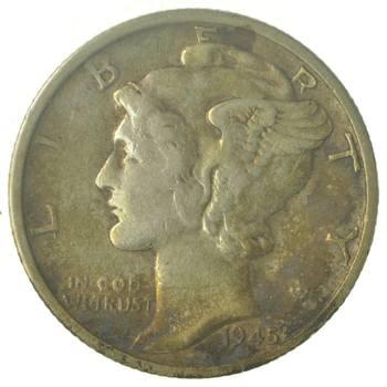 World War 2 WWII Era Mercury 90% Silver Dime - Neat! - 1945-S
