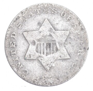 Worn Date Silver Three-Cent Piece - Trime - Sannes Coin Collection