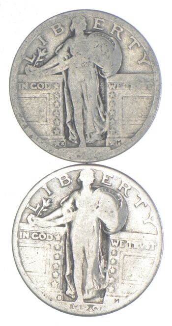 WORN DATE-S 1929-S Lot Silver Standing Liberty Quarter Collection