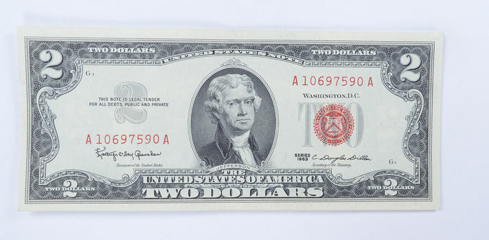 WOW - Crisp 1963 Red Seal $2.00 United States Note - Sharp Note