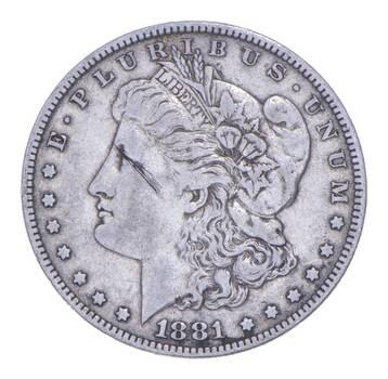 W@W Early 1881 Morgan Silver Dollar - 90% US Coin - Nice Coin