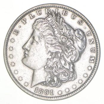W@W Early 1891 Morgan Silver Dollar - 90% US Coin - Nice Coin