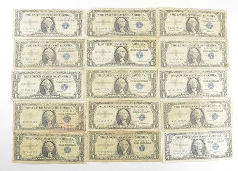 WWII Lot (15) US 1935 or 1957 $1 Silver Certificates Currency Collection