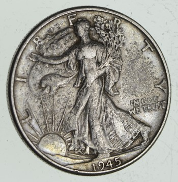 XF+ 1945 Walking Liberty 90% Silver US Half Dollar - NICE COIN