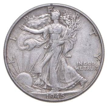 XF+ 1945 Walking Liberty 90% Silver US Half Dollar - NICE COIN