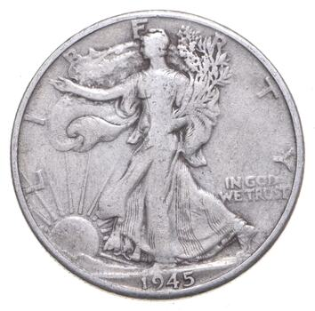 XF+ 1945-D Walking Liberty 90% Silver US Half Dollar - NICE COIN