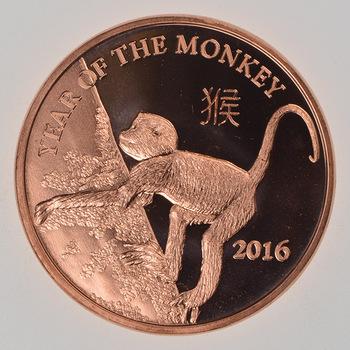 Year of the Monkey 2016 - Lunar Series - 1 Oz .999 Fine Copper Round