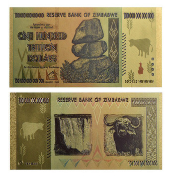 Zimbabwe 100 Trillion Dollars (Gold Color)- Replica Bank Note