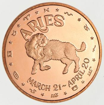 Zodiac - Aries- One Oz .999 Fine Copper Round - Limited Edition