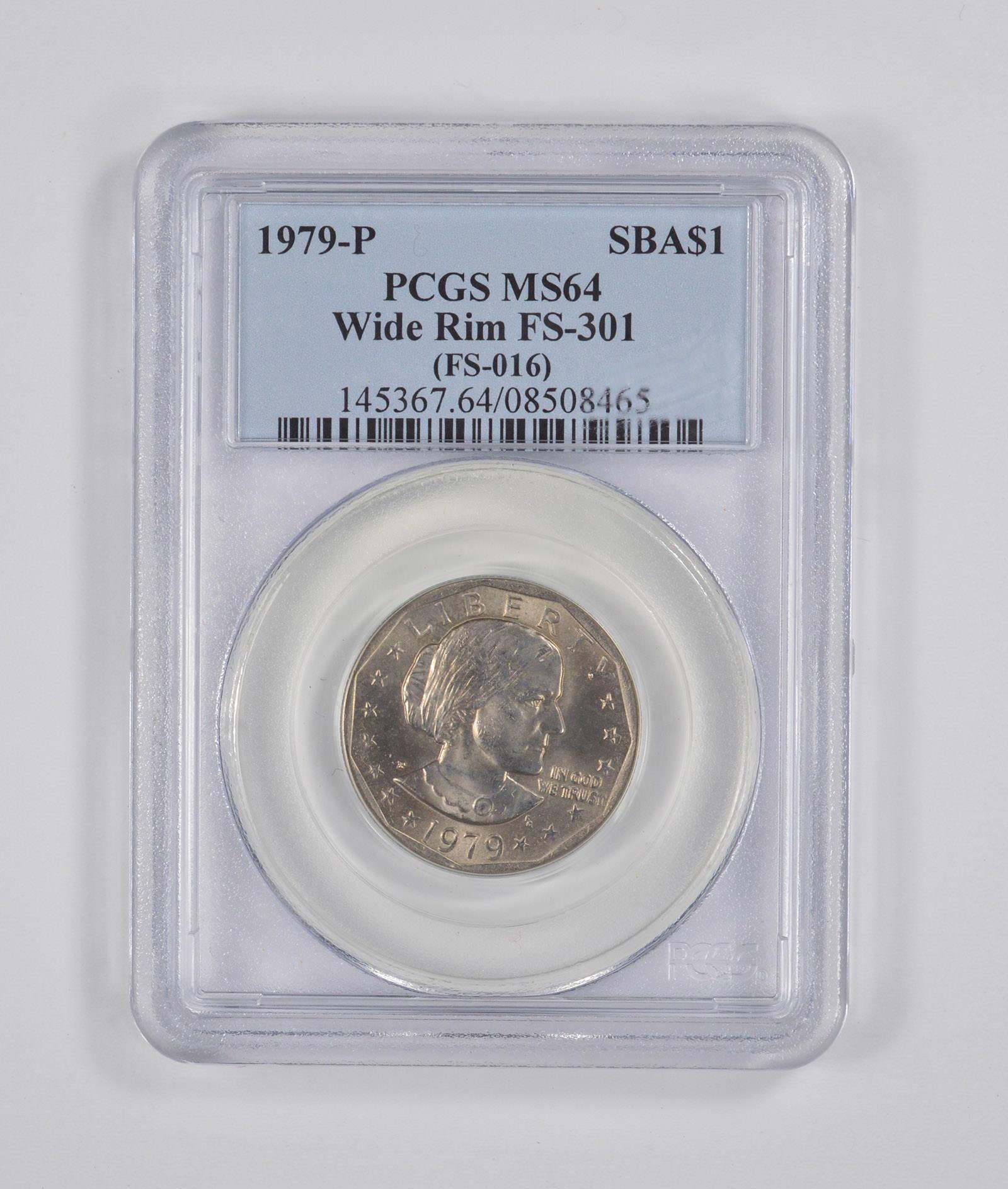 "1979 P Susan B Anthony Dollar /""Wide Rim/"" PCGS MS64"