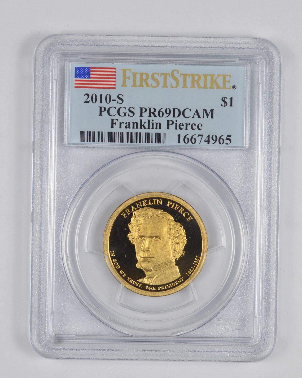 2010 S $1 Franklin Pierce Dollar PCGS PR70DCAM