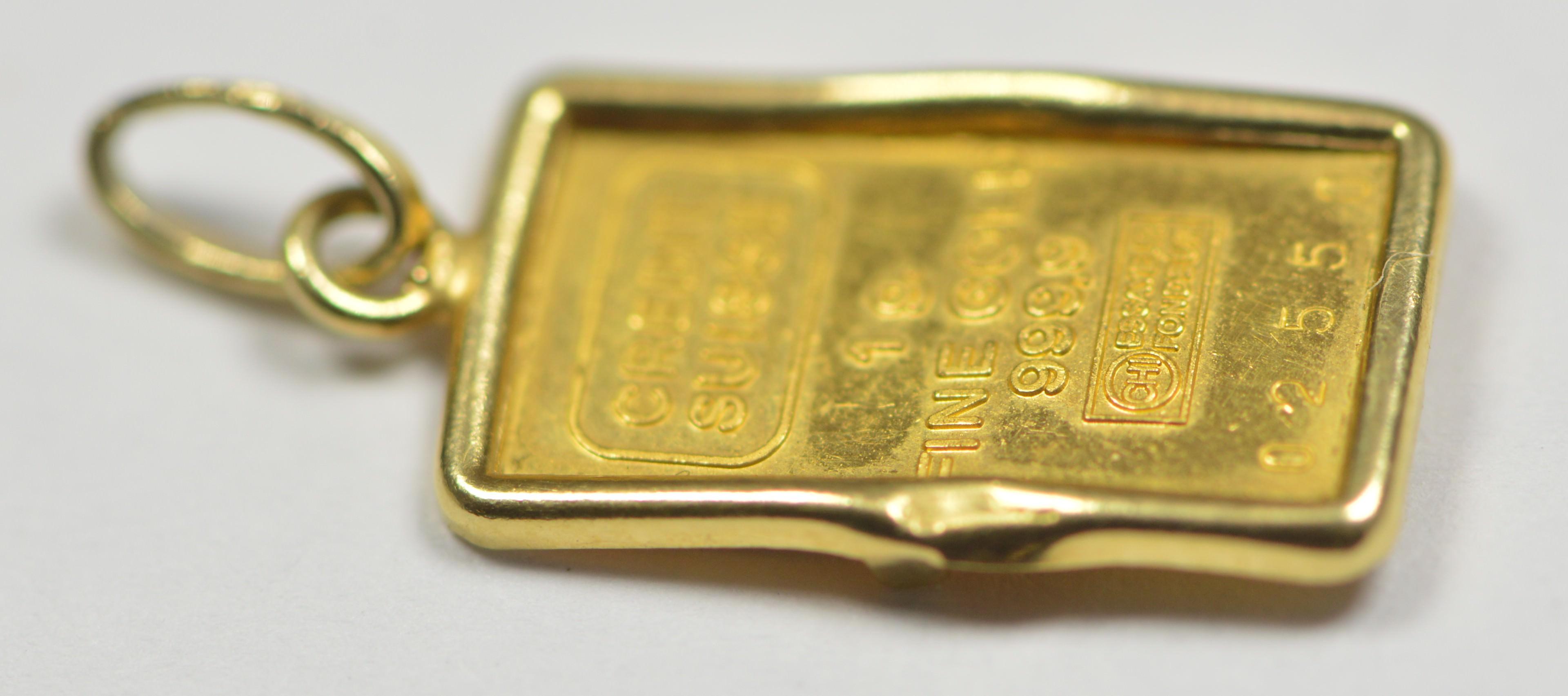 1 Gram Gold Bar In Bezel