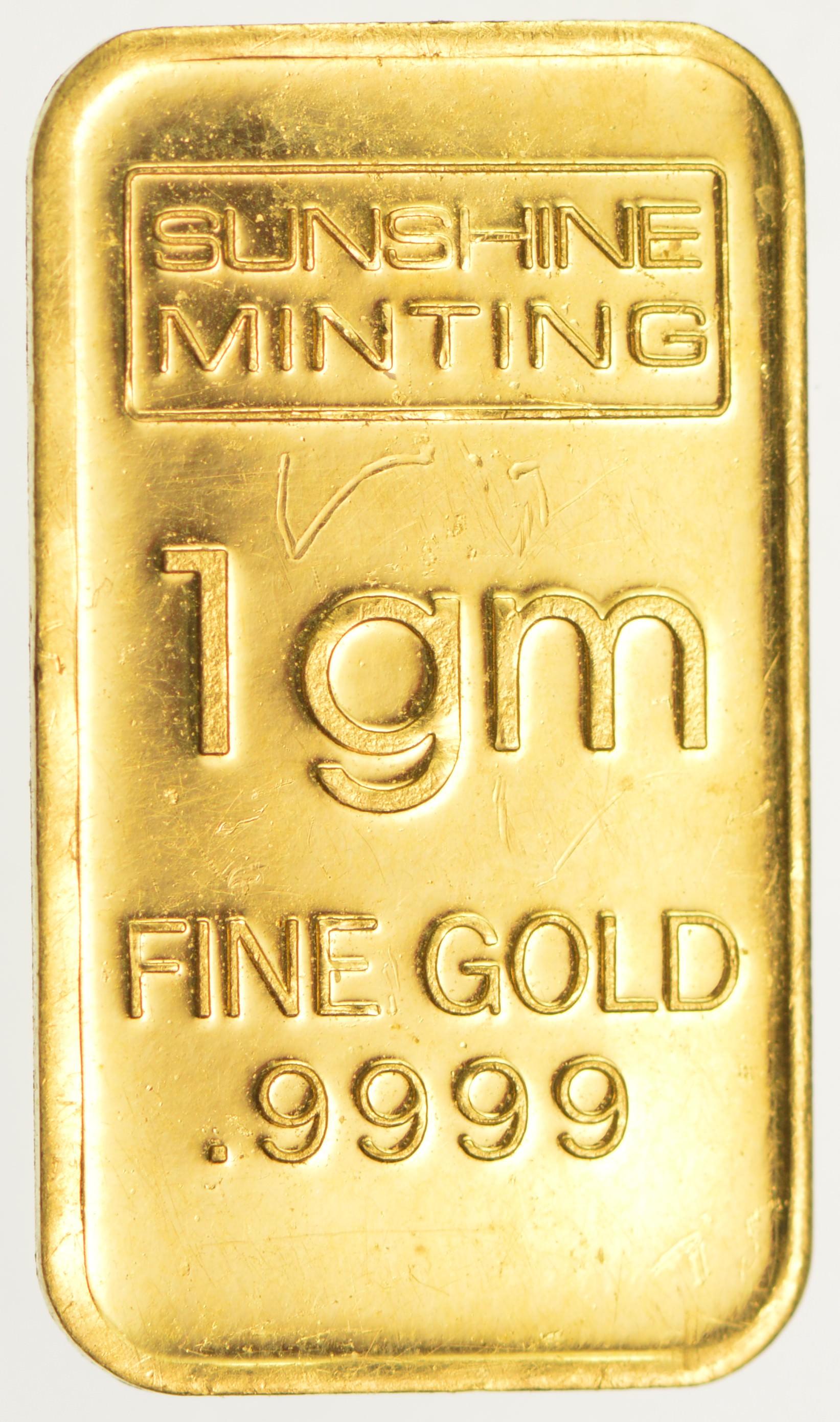 1 GRAM SOLID GOLD BAR .9999 FINE SUNSHINE MINT