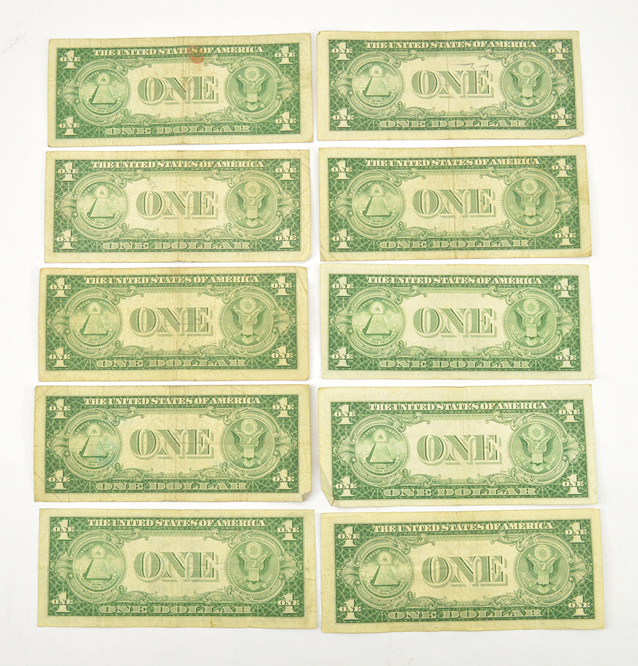 10 x 1935 $1.00 Silver Certificate Dollar Bills - Blue Seal! - Ten ...