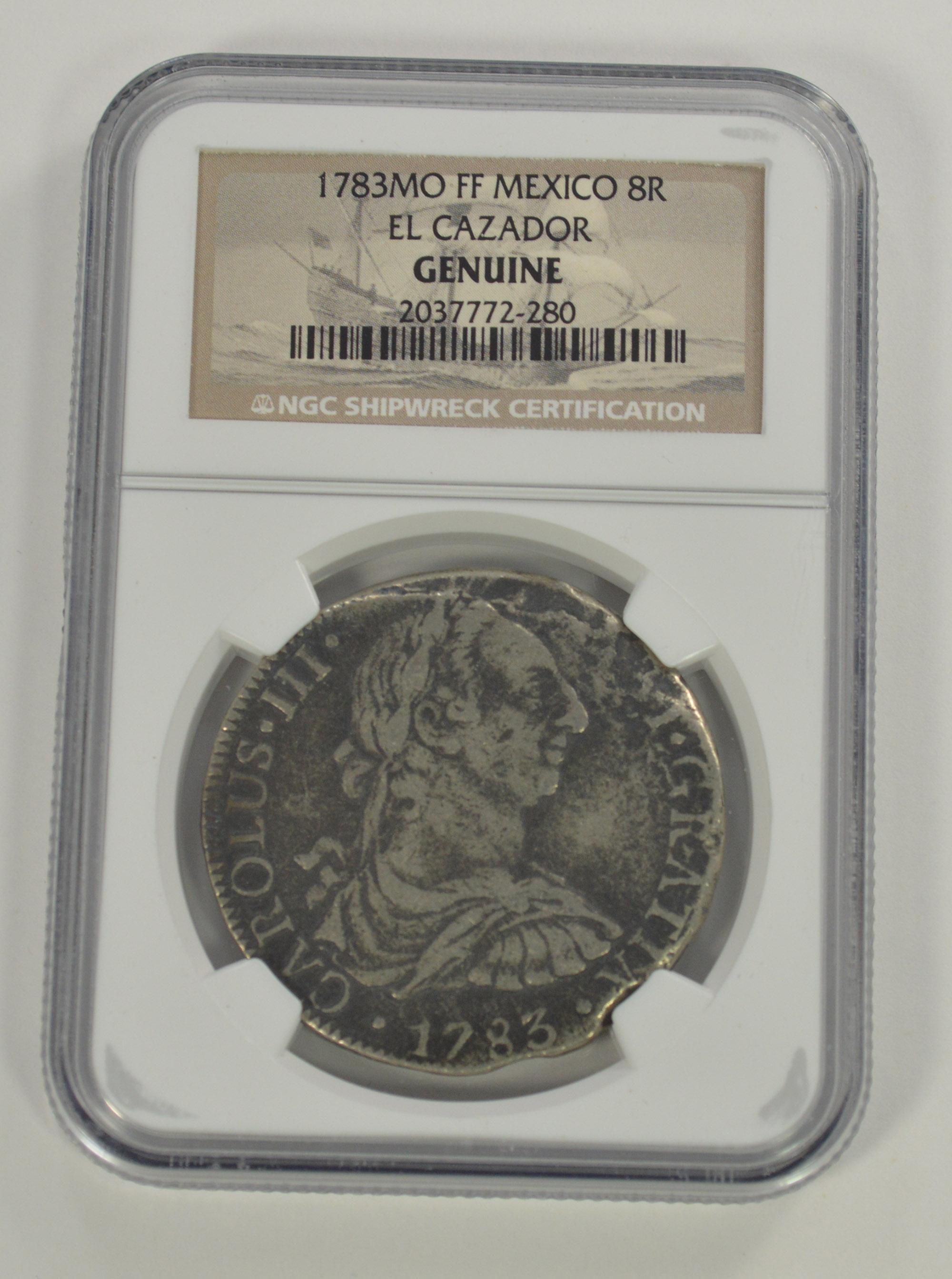 1783 MO FF Mexico Genuine Shipwreck El Cazador 8 Reales Silver Coin NGC