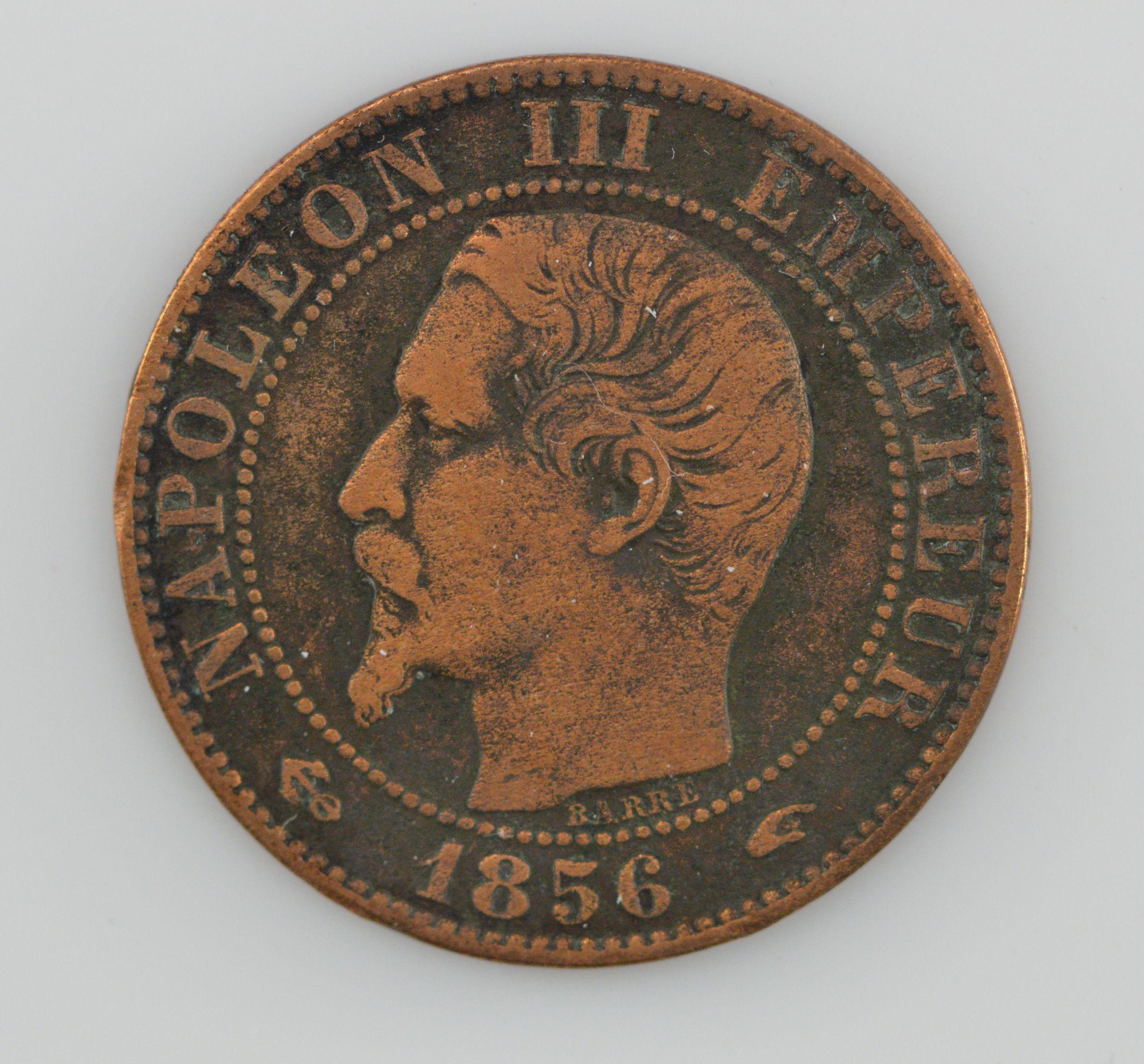 1856-A France 5 Centimes KM#777 1 Napoleon III, Copper