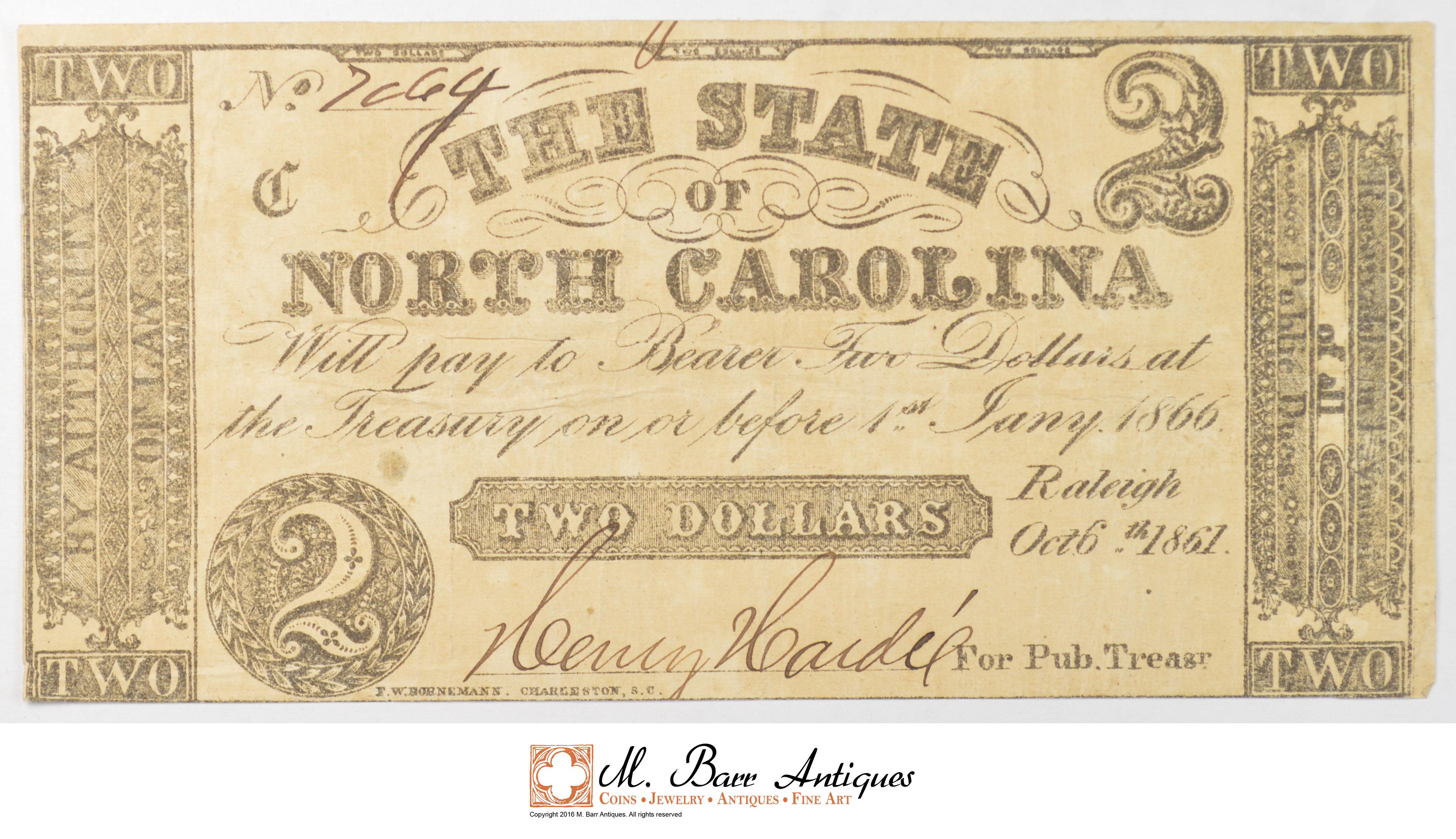 1861 2 00 State Of North Carolina Confederate Currency