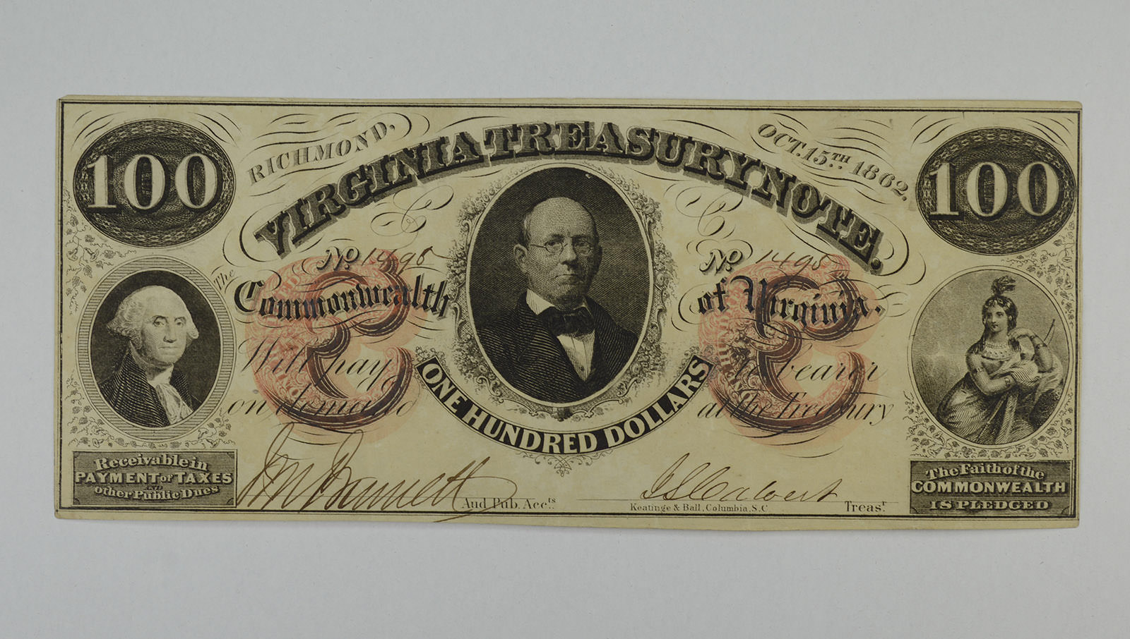 Win A Free Iphone 6 >> 1862 $100.00 Virginia Treasury Note Large Size Obsolete ...