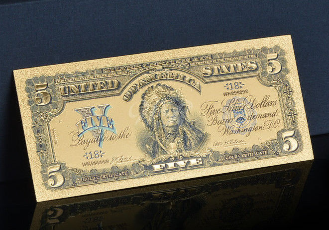 1899 - Silver Certificate - $5.00 Chief Indian - Replica Bank Note ...