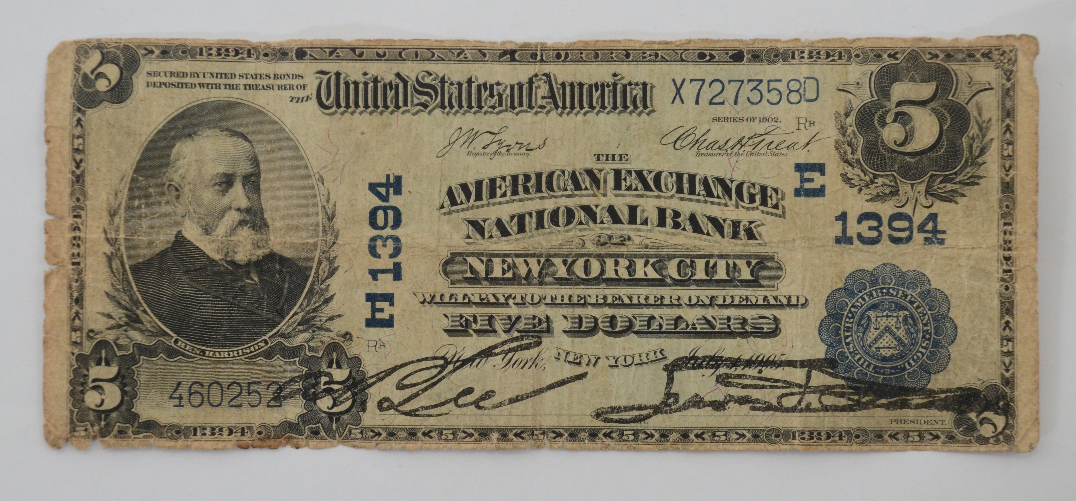 1902 D 5 Dollar National Currency Large Note New York City Fr 599