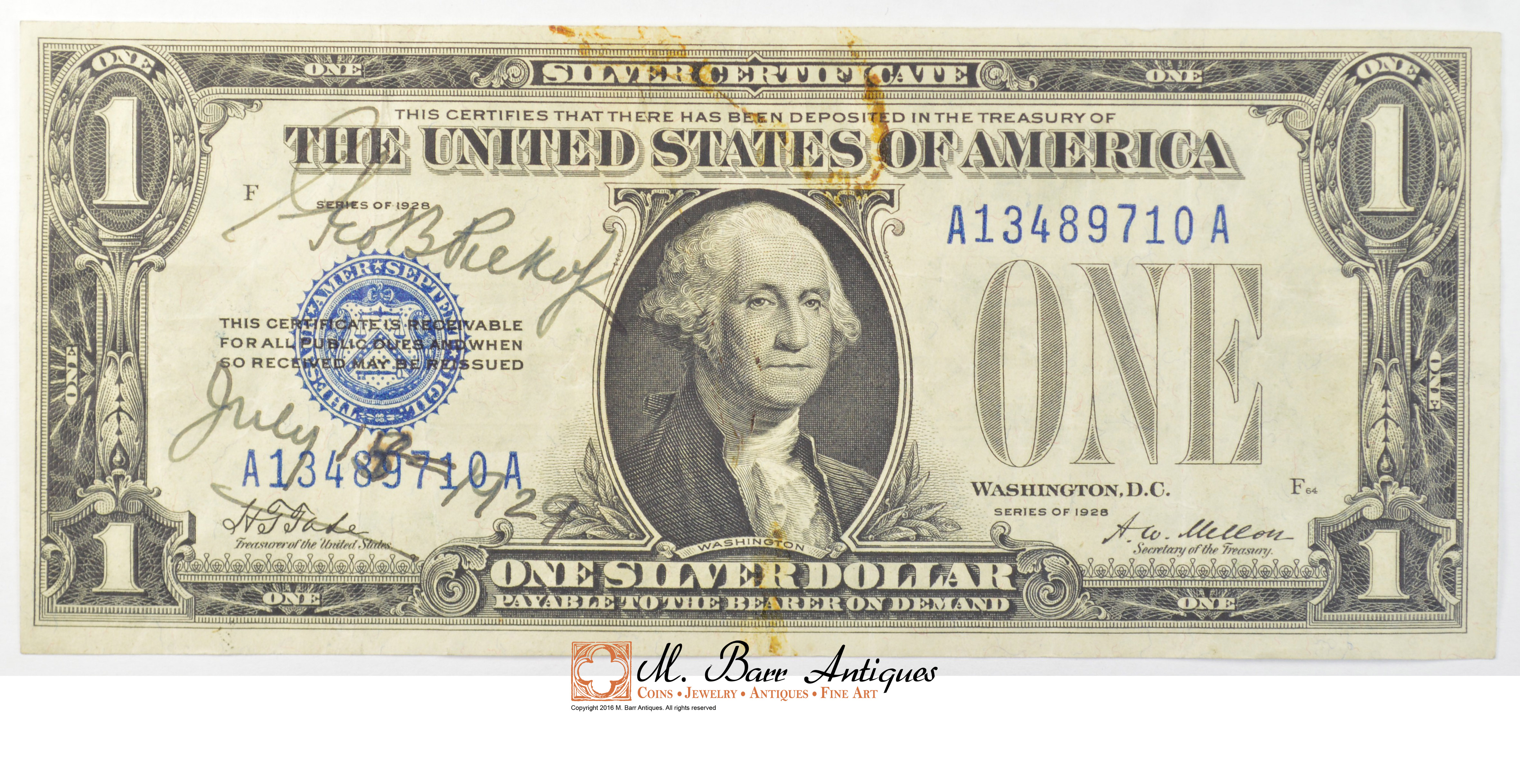 1928 100 Silver Certificate Us Currency Property Room