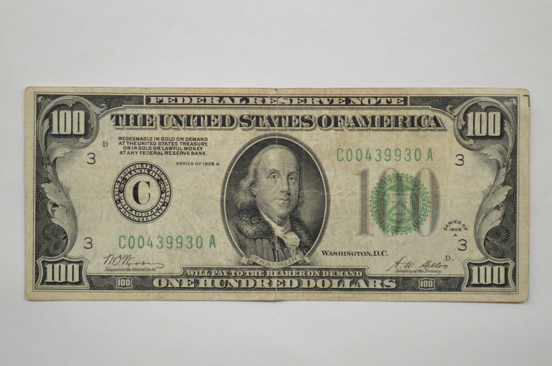 Series 1928a 100 Dollar Federal Reserve Note Washington