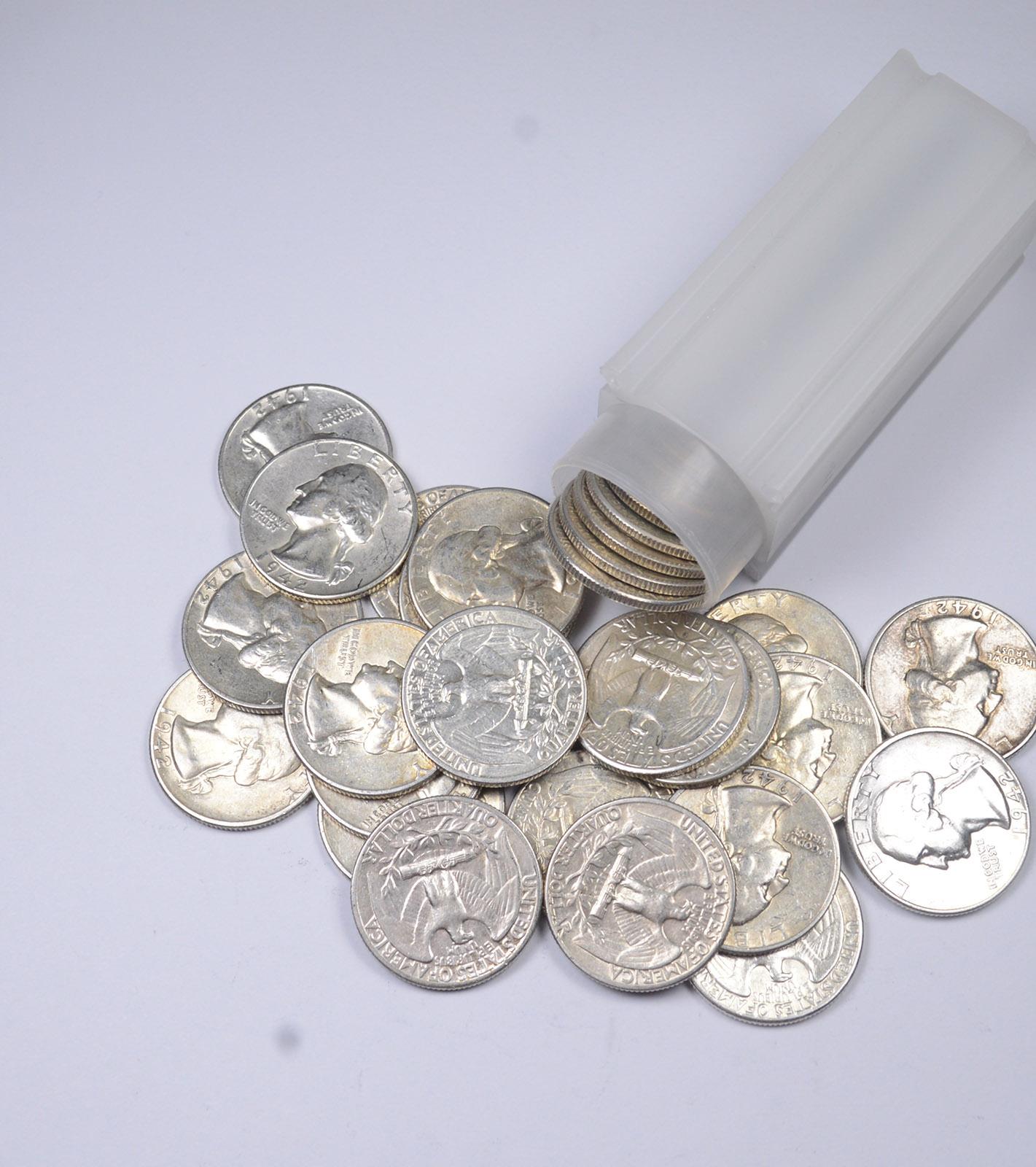 90/% Silver 40-Coin Roll $10 Washington Quarters