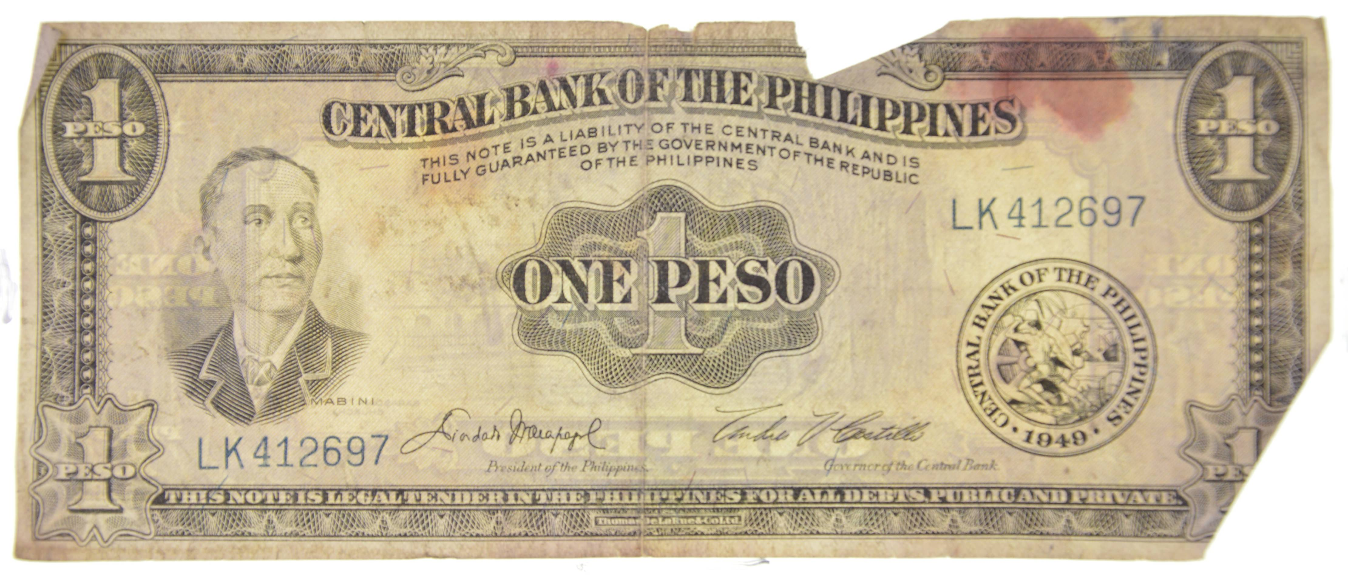 1949 Central Bank Of The Philippines One Peso