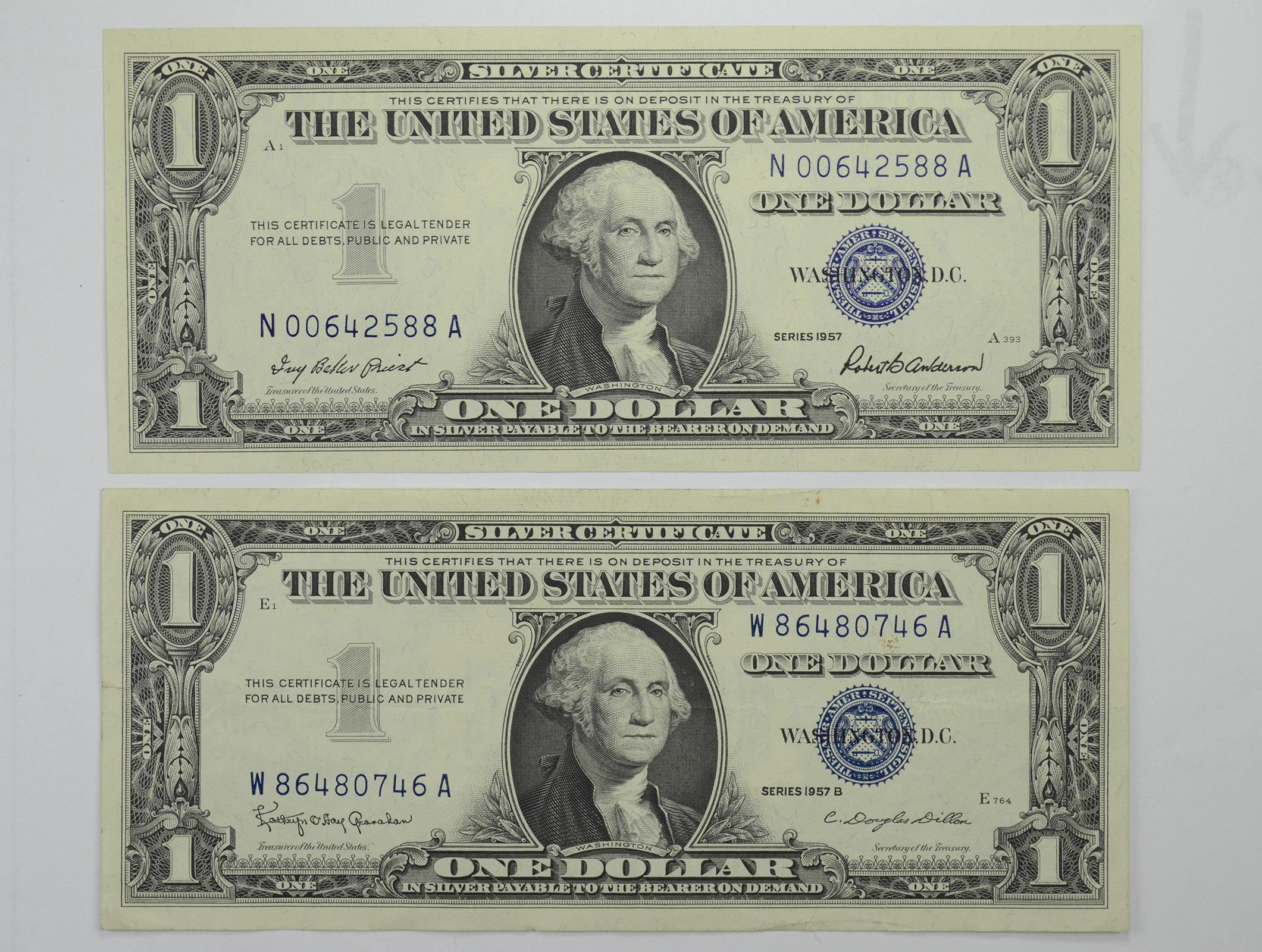 1957 b 1957 series blue seal silver certificate crisp 2 notes