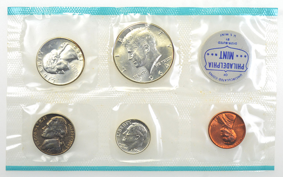 10 Coin Uncirculated Set with Original Governmetn Packaging Uncirculated 1964 P Mint D U.S