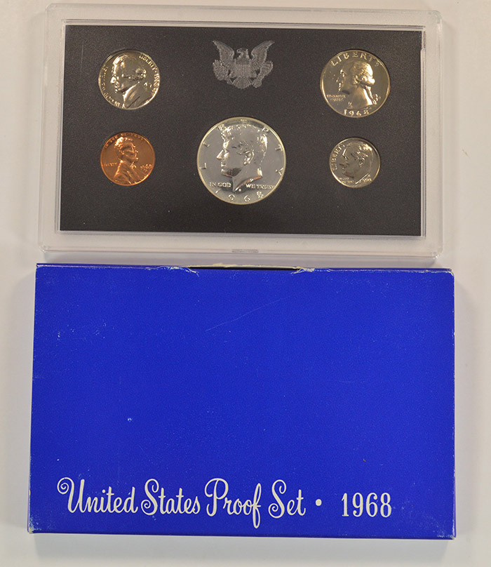 1968-S Proof Set with 40/% Silver Kennedy Half includes Box