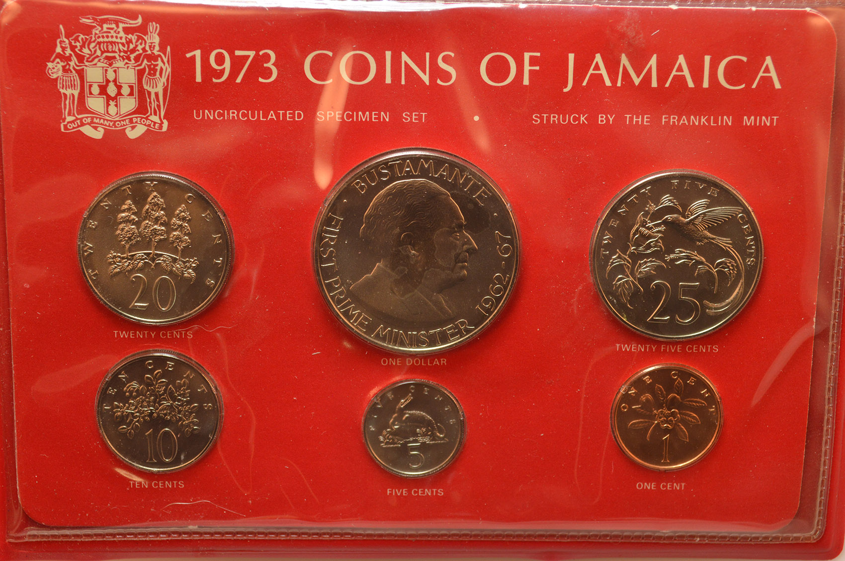 1973 Coins Of Jamaica Uncirculated Specimen Set W Bonus