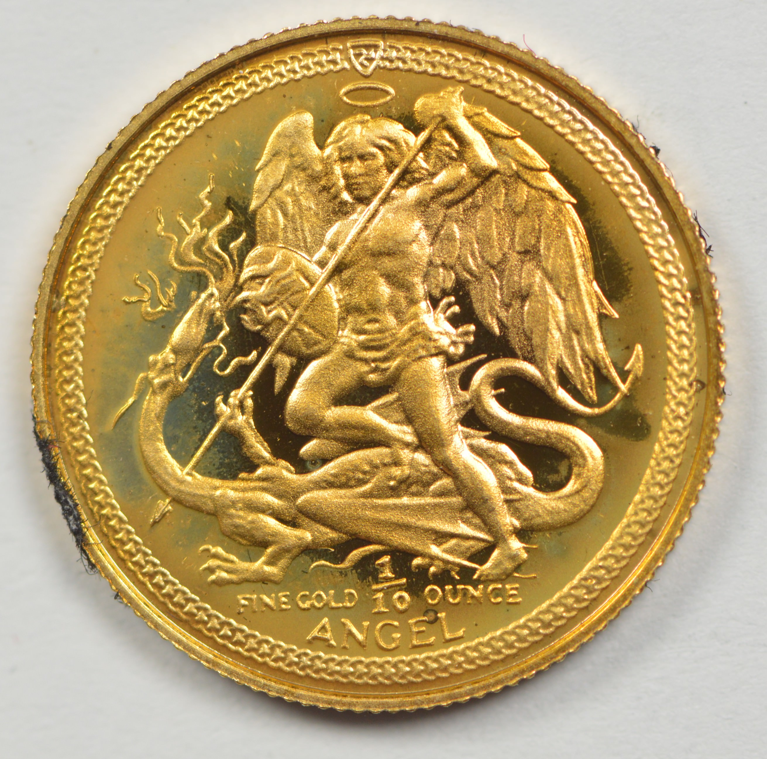 1985 Isle Of Man Angel 999 Gold Coin Agw 1 10 Oz