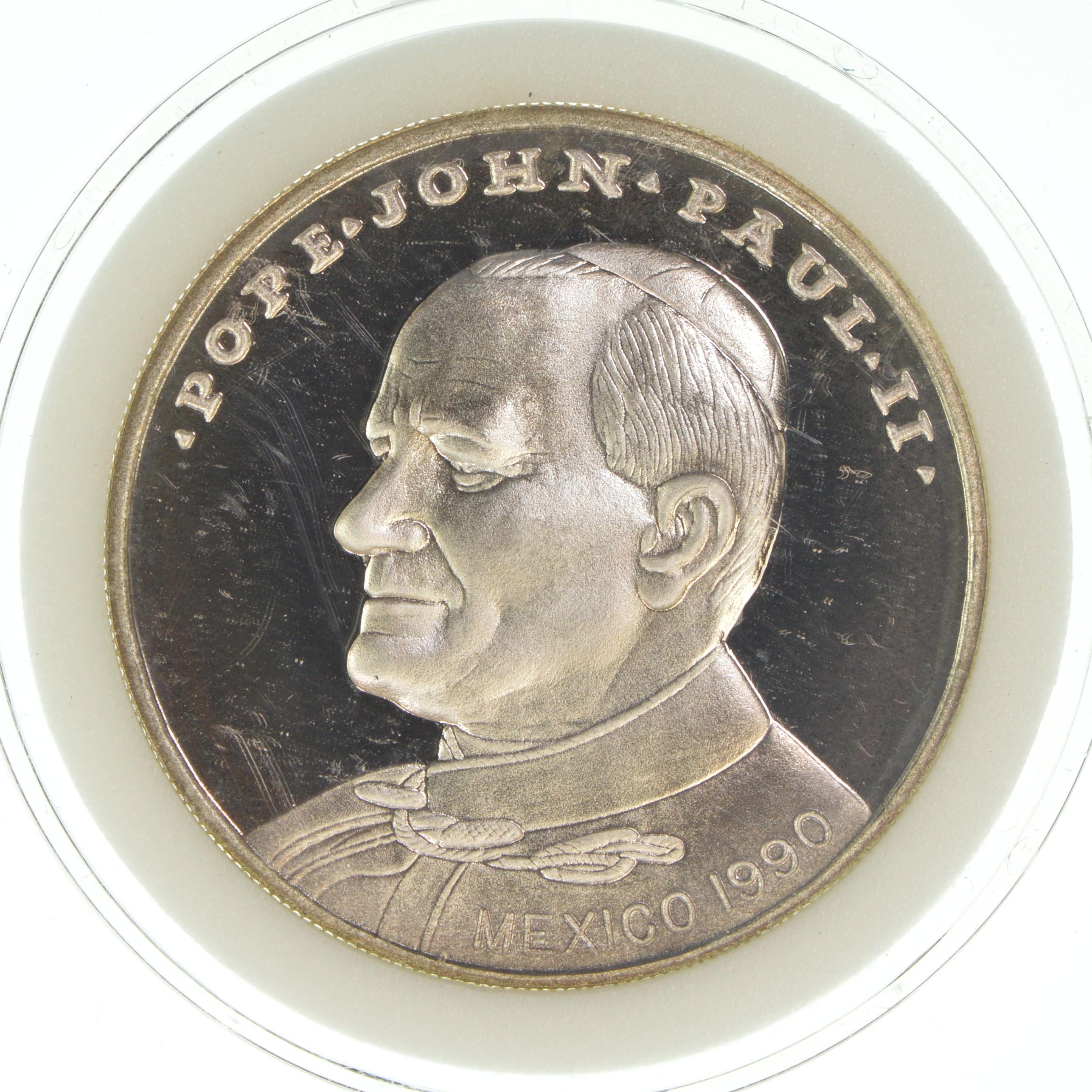 1990 Mexico Pope John Paul Ii 20 00 Face Value  Fine Silver