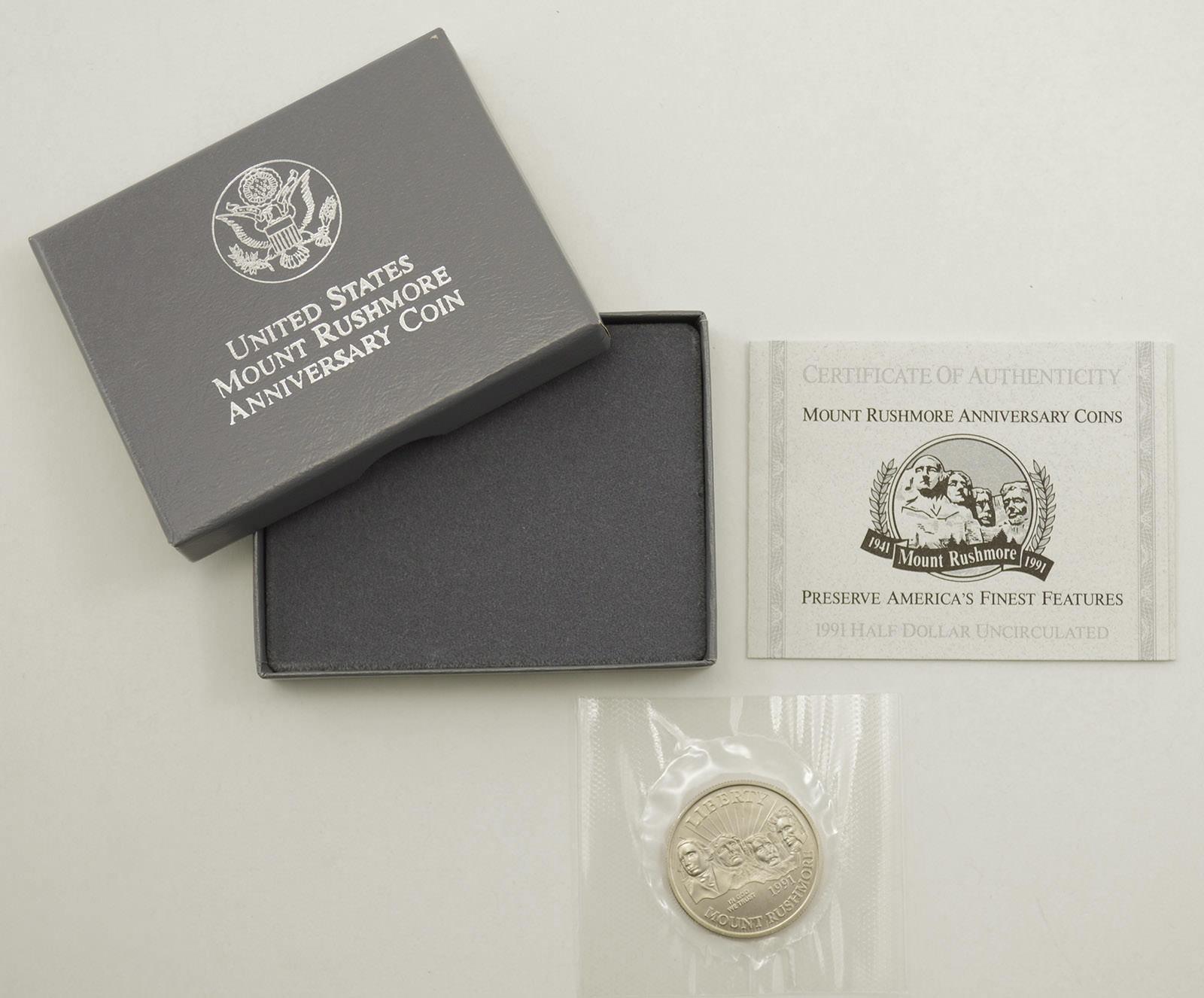 1991 D Mount Rushmore Half Dollar Commemorative Coin BU 50c US Mint Packaging