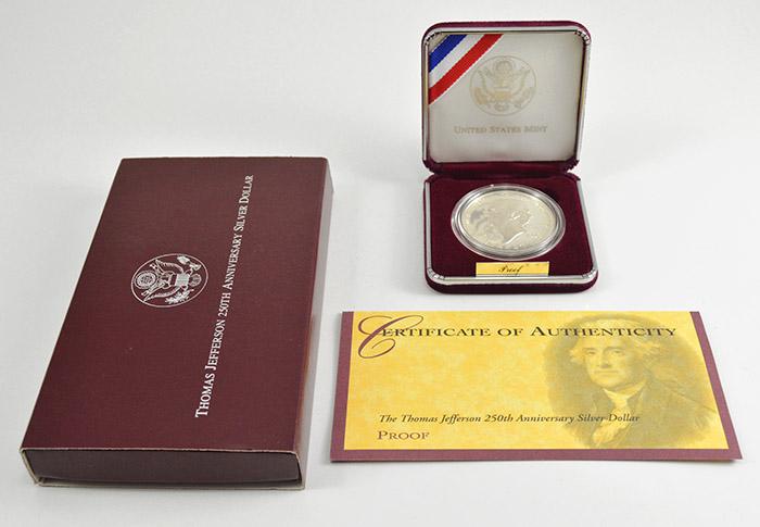 1993 Thomas Jefferson 250th Anniversary Silver Dollar COA
