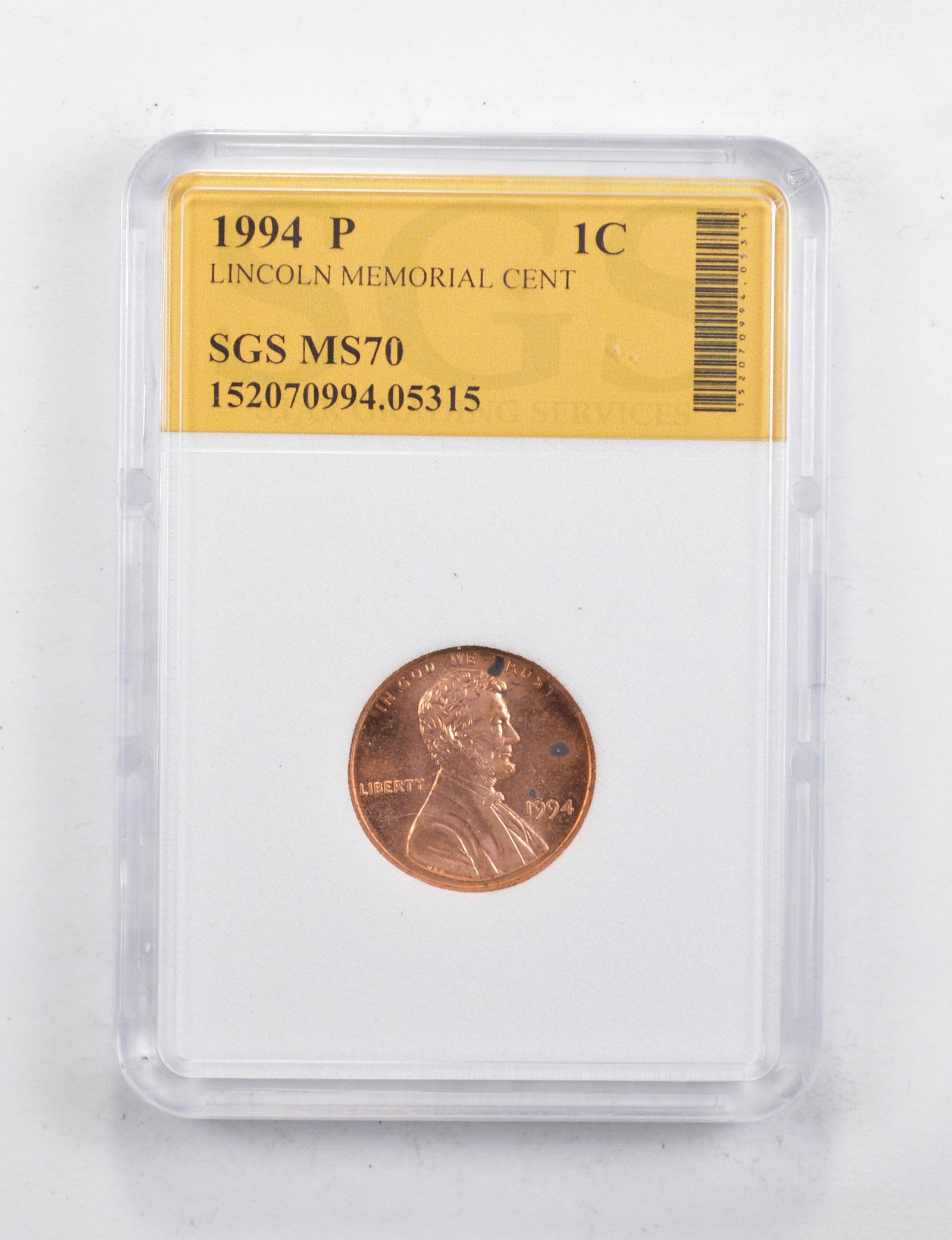 1994 S 1C Lincoln Cent Proof PCGS PR70DCAM