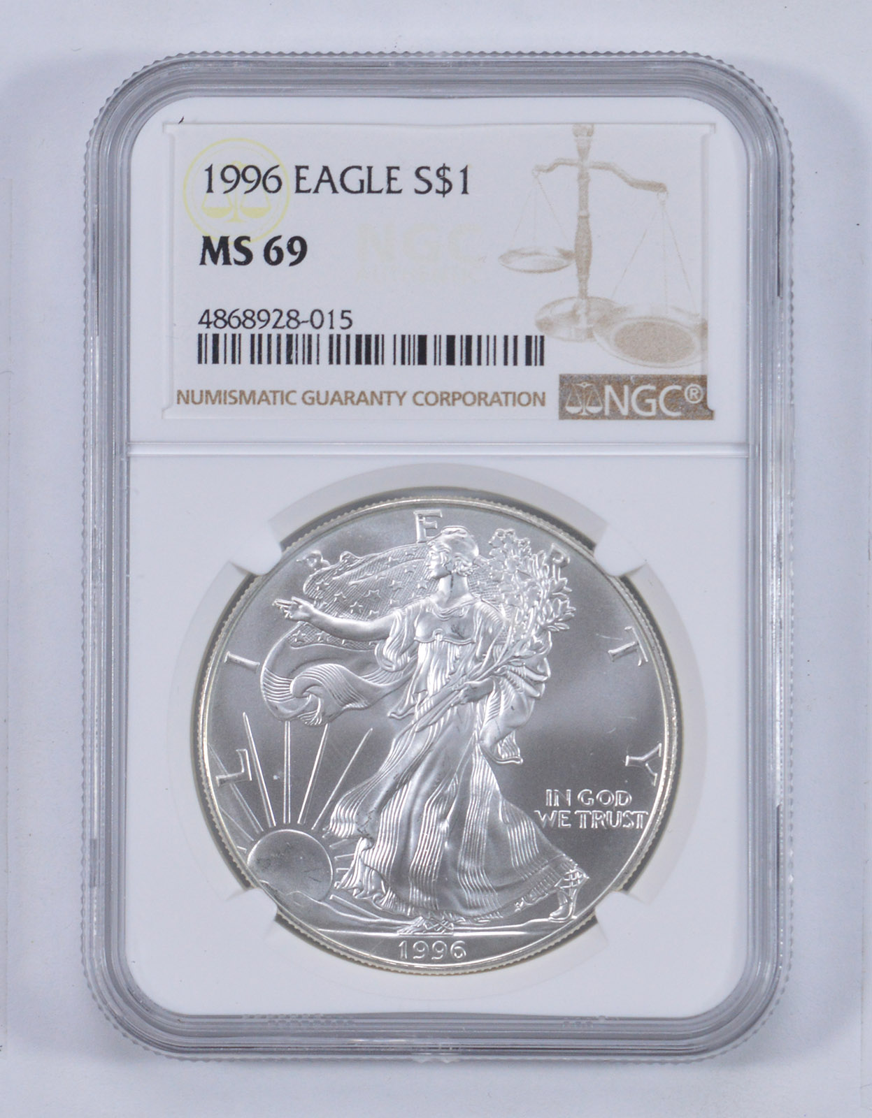 American Silver Eagle Brown Label Dollar MS69 NGC 1996