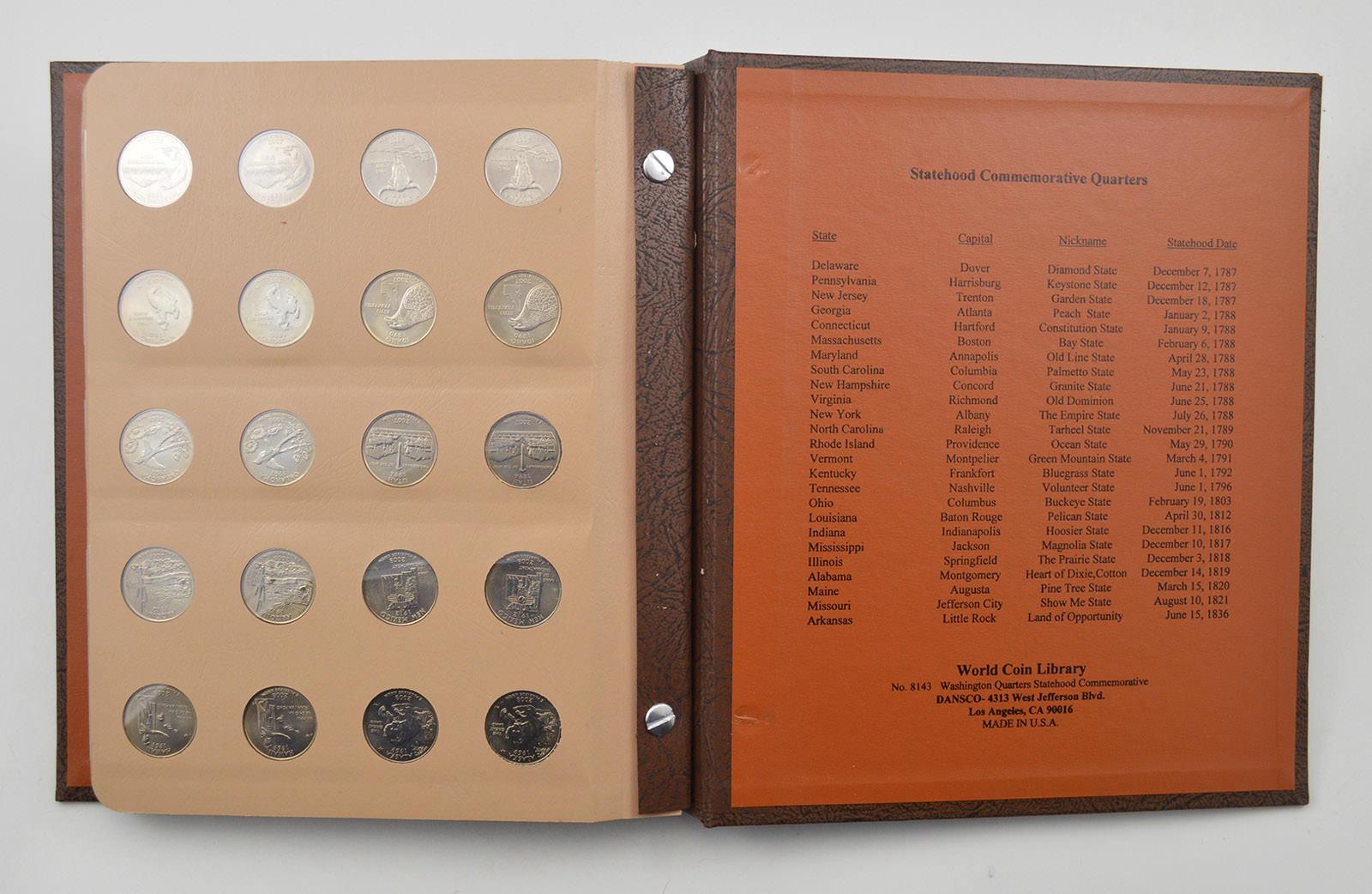 1999-2008 Washington Quarter US Coin Collection Set Non