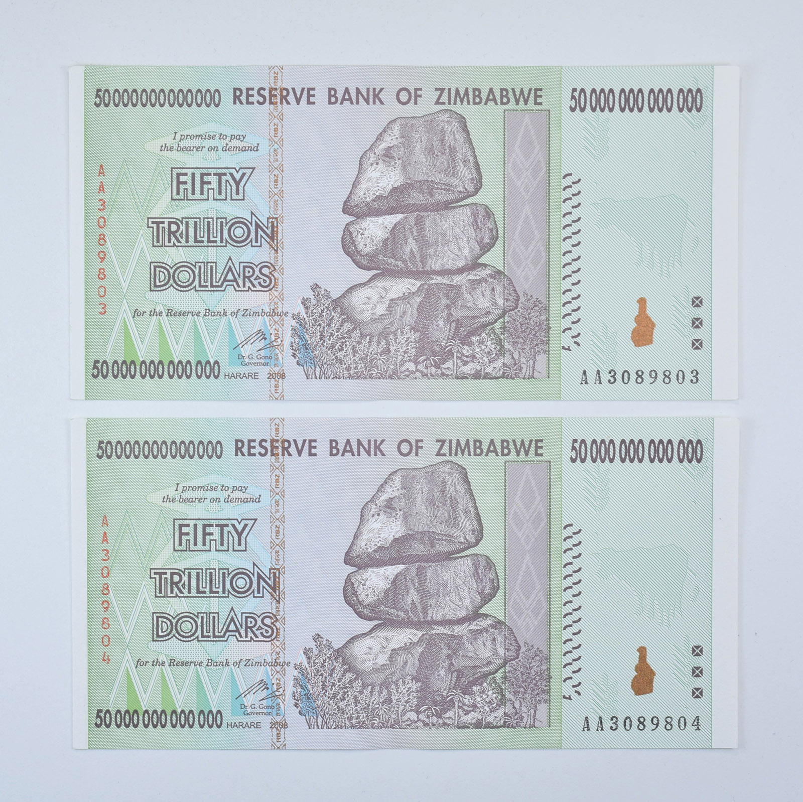 2 x Zimbabwe 100 Trillion Dollar banknotes-About Uncirculated money currency