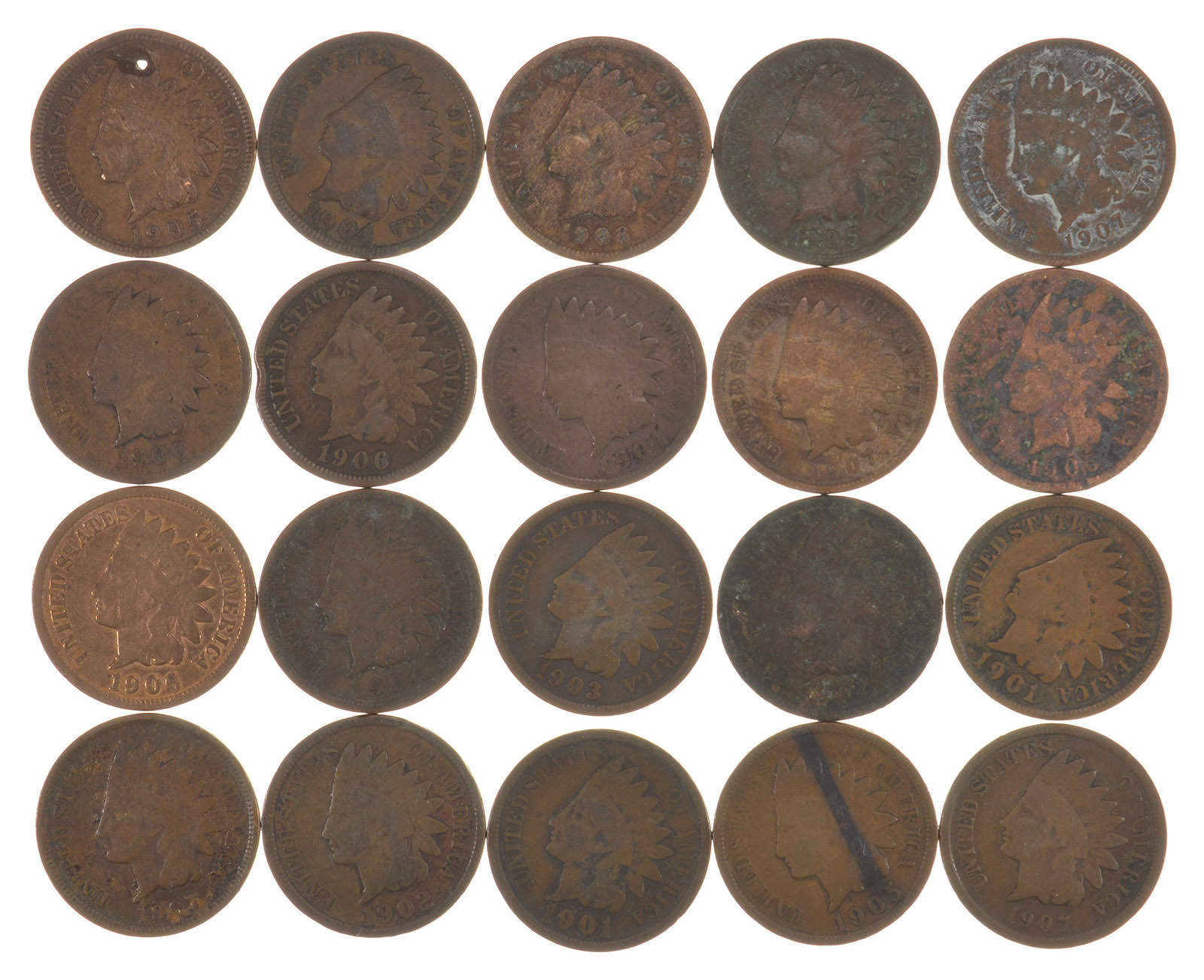 1 1900/'s Indian Head Penny Coin //// 1900-1909 //// Good or Better