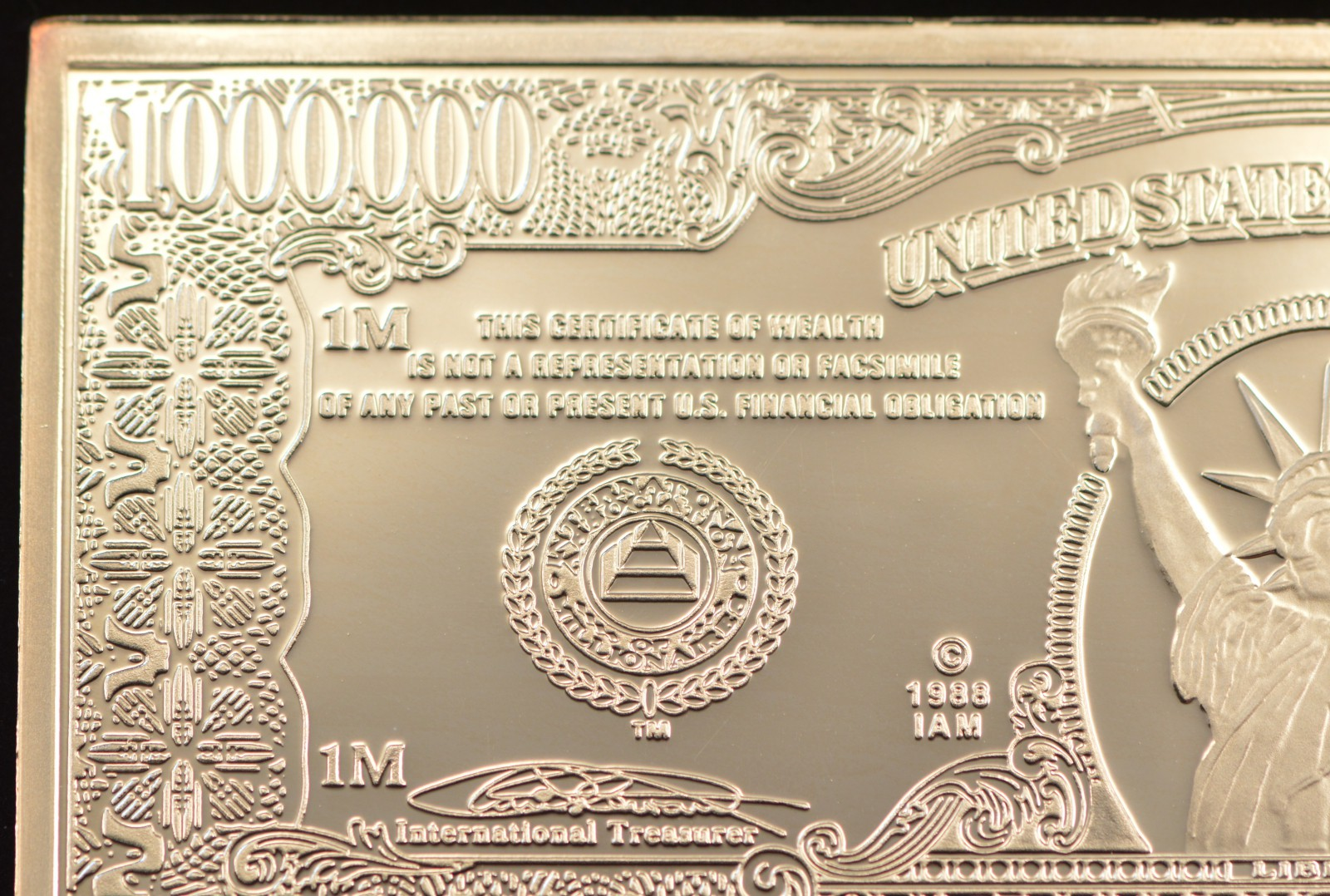 2000 One Million Dollars Statue Of Liberty Note 999 Fine