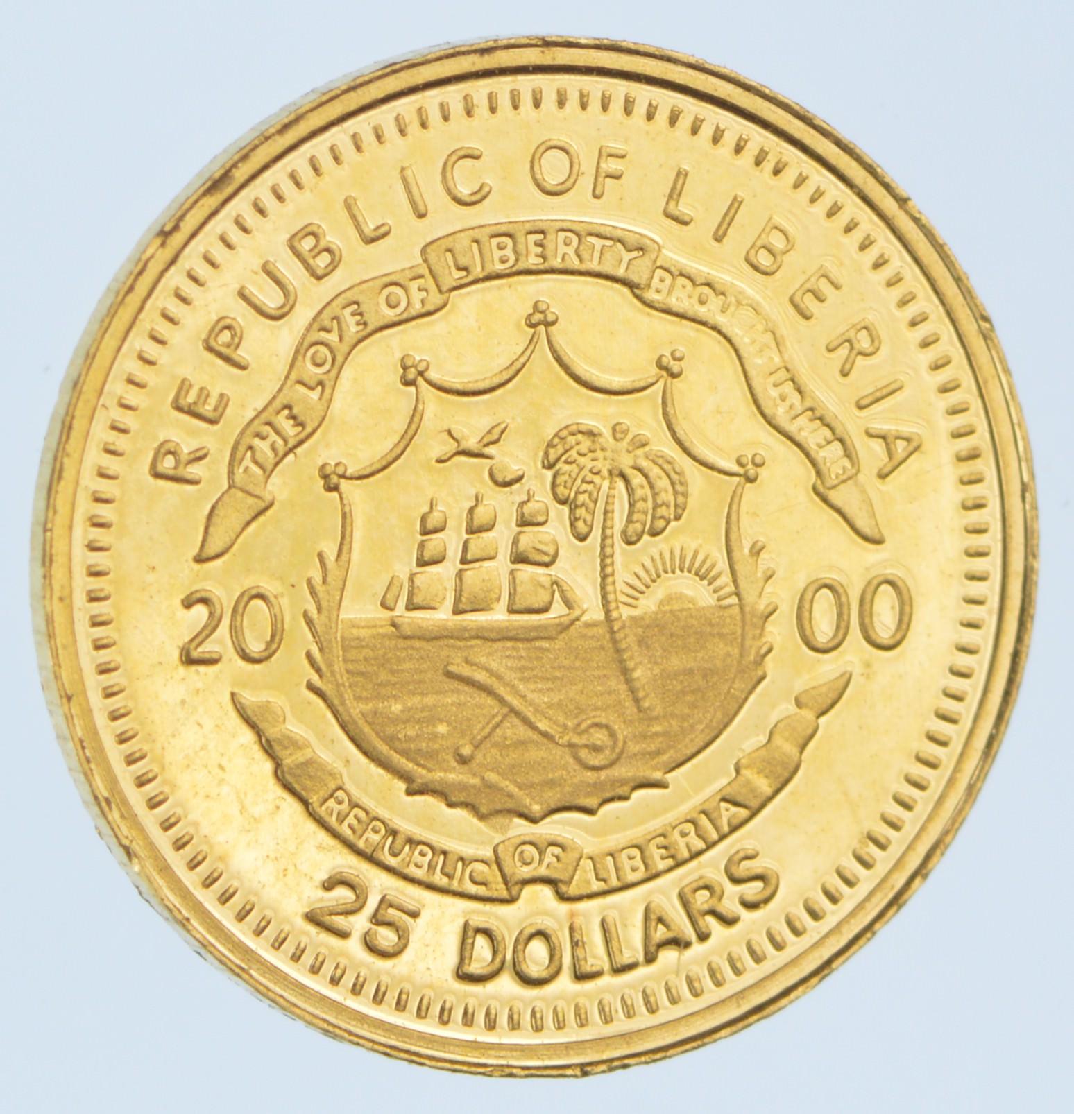 2000 Republic Of Liberia 25 Dollars Gold Coin