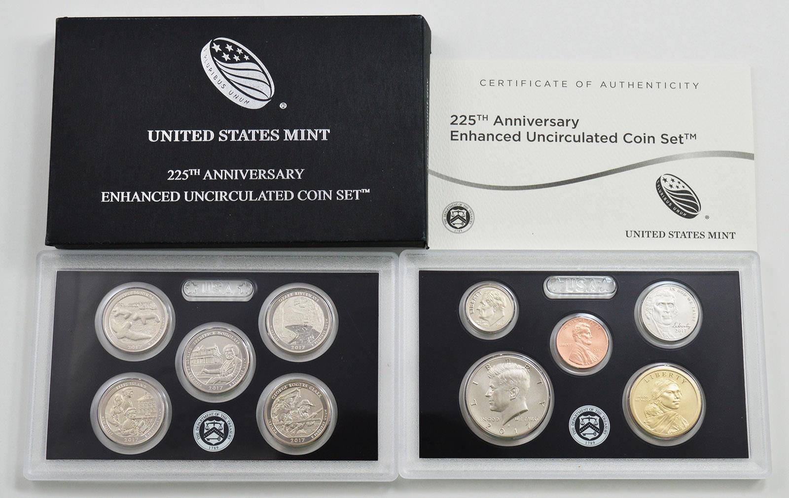 MINT 225TH ANNIVERSARY ENHANCED UNCIRCULATED COIN SET 2017  U.S