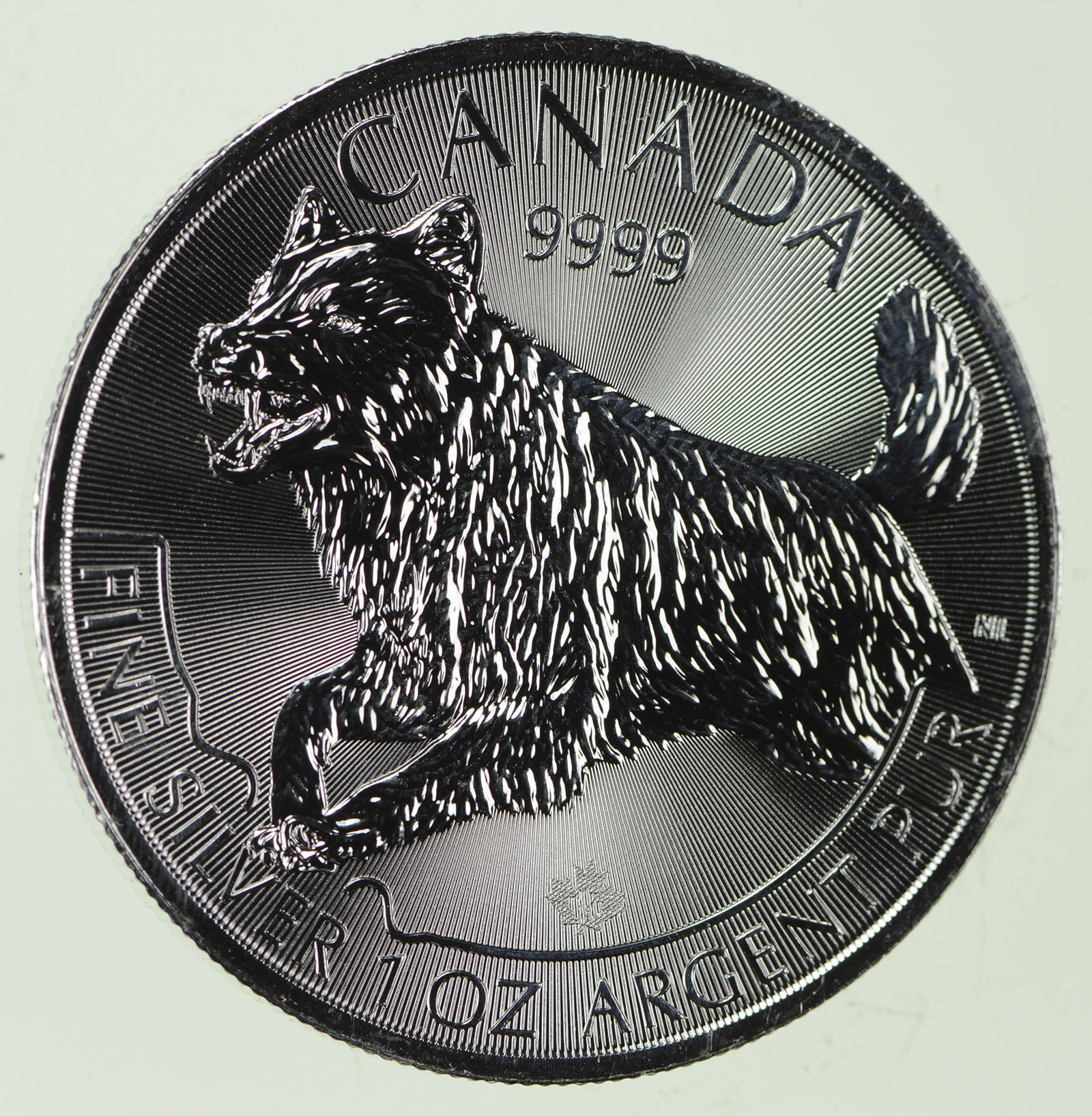 1 oz Silver Maple Canada Predator Series Wolf 2018 999 Coin $5