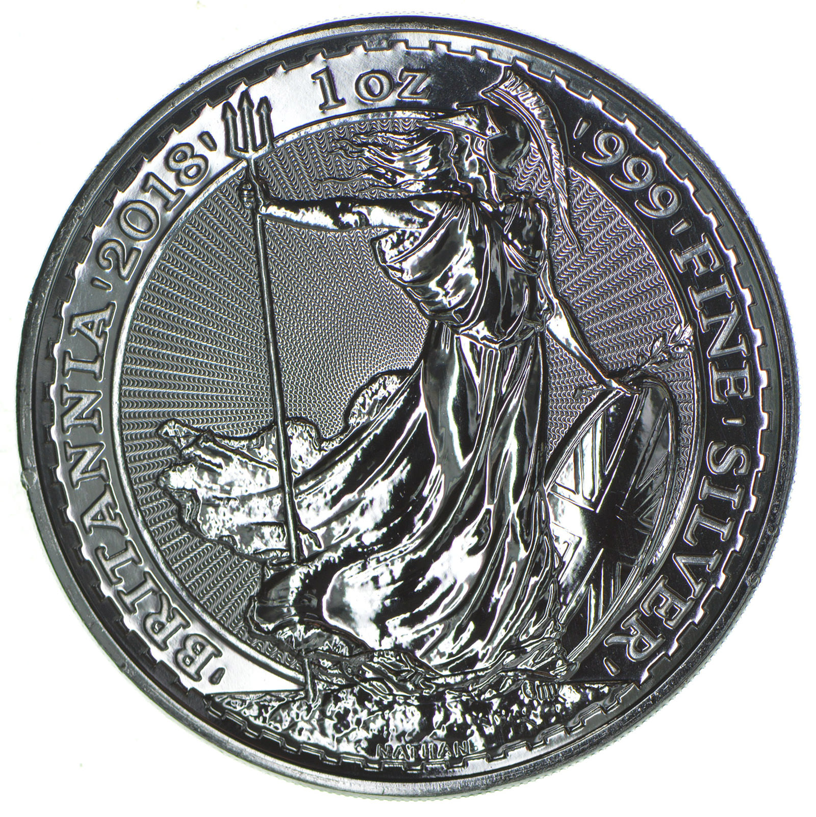 2018 Great Britain Britannia 2 Pounds 1 Troy Oz 999 Fine Silver Highly Collectible Coin