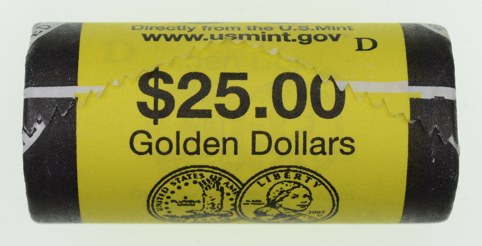 Mint Wrapped Roll of 25 Uncirculated 2007-D Sacagawea Dollars U.S
