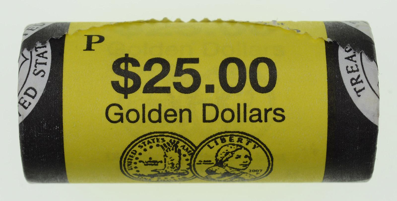 2007 P JEFFERSON GOLDEN $25.00 ORIG BANK WRAPPED ROLLS